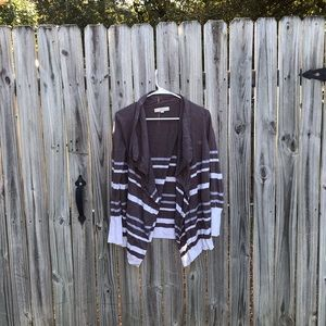 Small Ann Taylor loft cardigan brown with stripes